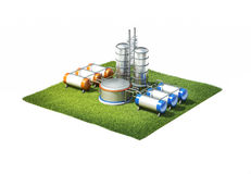 Oil refinery factory. 3d illustration of oil refinery factory standing on cross section of ground with grass isolated on white stock photos