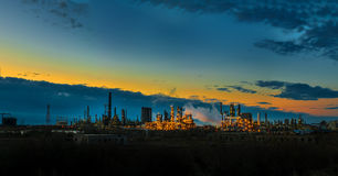 Oil refinery factory at dawn Stock Photography