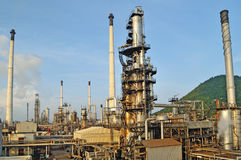 Oil Refinery factory in evening Stock Images
