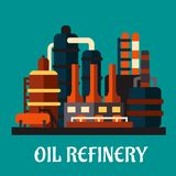 Oil refinery factory in flat style. Depicting an industrial plant for processing and chemical refining of crude oil with text Oil Refinery vector illustration