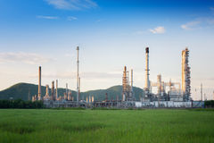 Oil Refinery factory in the morning , petrochemical plant. Petroleum Stock Photos