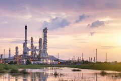 Oil Refinery factory in the morning , petrochemical stock photography