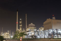 Oil refinery factory at night Royalty Free Stock Images