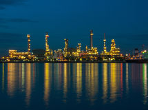 Oil refinery factory at night in Thailand Stock Photo