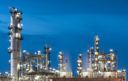 Oil Refinery factory, petrochemical plant. Petroleum at dark Royalty Free Stock Images