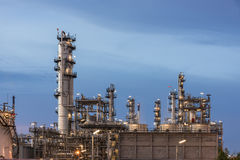 Oil Refinery factory, petrochemical plant. Petroleum at dark Royalty Free Stock Photos