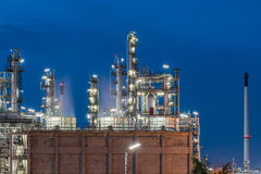 Oil Refinery factory, petrochemical plant. Petroleum at dark Royalty Free Stock Photo