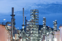 Oil Refinery factory, petrochemical plant. Petroleum at dark Stock Photography
