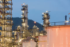 Oil Refinery factory Petroleum at night Stock Photography