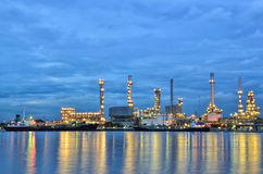 Oil refinery factory with reflection Royalty Free Stock Images