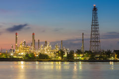 Oil refinery factory with river front Stock Image