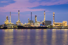 Oil refinery factory river front Royalty Free Stock Photography