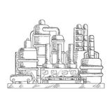 Oil refinery factory in sketch style Royalty Free Stock Images