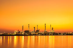 Oil refinery factory at sunrise, Bangkok Thailand Stock Images