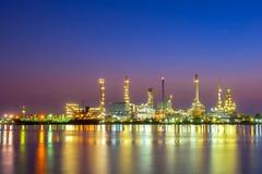 Oil refinery factory at sunrise, Bangkok Thailand Stock Photo