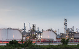 Oil Refinery factory at sunset Royalty Free Stock Photography