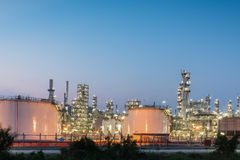 Oil Refinery factory at sunset Royalty Free Stock Image