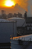 Oil Refinery factory at sunset Royalty Free Stock Photo