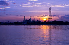 Oil refinery factory at Twilight Royalty Free Stock Image