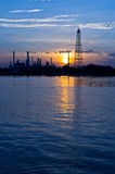 Oil refinery factory at Twilight Royalty Free Stock Photo