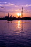 Oil refinery factory at Twilight Stock Image