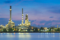 Oil refinery factory twilight on Bangkok river Stock Photography