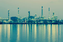 Oil refinery factory at twilight Bangkok Thailand Royalty Free Stock Photos