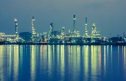 Oil refinery factory at twilight Bangkok Thailand Stock Photo