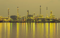 Oil refinery factory at twilight Bangkok Thailand Stock Photos