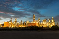Oil Refinery factory at twilight royalty free stock photography