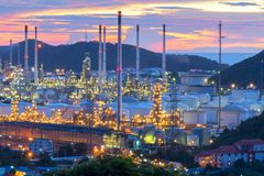 Oil Refinery factory at twilight stock photos