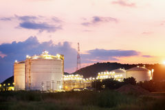 Oil Refinery factory at twilight , petrochemical plant , Petroleum stock photography