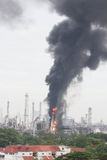 Oil refinery fire. Royalty Free Stock Images
