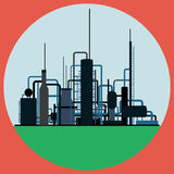 Oil refinery. The oil refinery flat vector illustration vector illustration