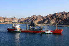 Oil refinery in Fujairah. United Arab Emirates royalty free stock photography