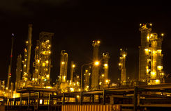 Oil refinery in full operation during. The night, industrial estate, Thailand Royalty Free Stock Photos