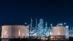 Oil refinery gas industry plant of petroleum. Industry production at sunset Stock Image