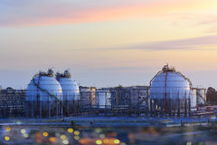 Oil refinery and Gas oil refinery storage tank . Large oil-refinery plant ,Oil refinery and petrochemical industry Royalty Free Stock Images