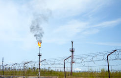 Oil refinery. Gas torch Stock Photo