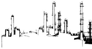 Oil refinery illustration Stock Photo