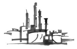 Oil refinery illustration Royalty Free Stock Photography
