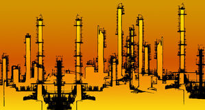 Oil refinery illustration Royalty Free Stock Photo