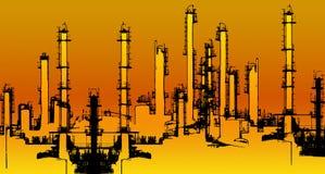Oil refinery illustration Royalty Free Stock Photo