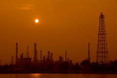 Oil Refinery In Evening Stock Photo