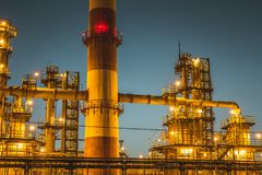 Oil refinery industrial plant or factory, storage distillery tanks and steel pipeline, modern petrochemical technologies. Toned royalty free stock photos