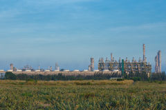 Oil refinery industrial plant with sky stock photos