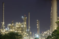 Oil refinery industry night. Scene Stock Image