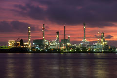 Oil refinery industry plan at twilight Royalty Free Stock Photo