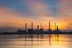 Oil refinery. Industry plant along twilight morning Stock Photography