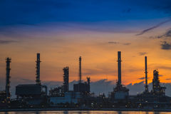 Oil refinery industry plant along twilight morning. Thai Royalty Free Stock Photography